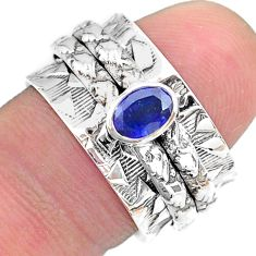 0.71cts solitaire natural blue sapphire 925 silver spinner ring size 8 t31752