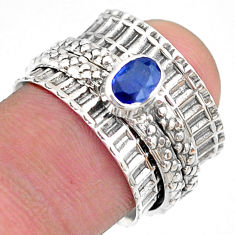0.69cts solitaire natural blue sapphire 925 silver spinner ring size 6.5 t31462