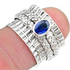 0.76cts solitaire natural blue sapphire 925 silver spinner ring size 5.5 t31465