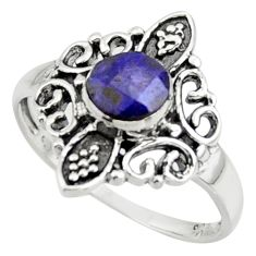 1.31cts solitaire natural blue sapphire 925 sterling silver ring size 7.5 r41942