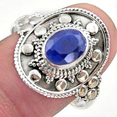 1.92cts solitaire natural blue sapphire 925 sterling silver ring size 10 t46681