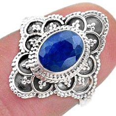 2.17cts solitaire natural blue sapphire 925 sterling silver ring size 6 t46581