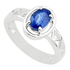 1.53cts solitaire natural blue sapphire 925 sterling silver ring size 6 t5218