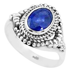 1.96cts solitaire natural blue sapphire 925 sterling silver ring size 6 t5295