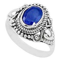 1.96cts solitaire natural blue sapphire 925 sterling silver ring size 6 t5334