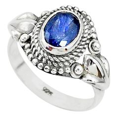 1.99cts solitaire natural blue sapphire 925 sterling silver ring size 6 t5359