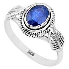 1.51cts solitaire natural blue sapphire 925 sterling silver ring size 6 t5482