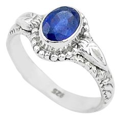 1.44cts solitaire natural blue sapphire 925 sterling silver ring size 6 t5485