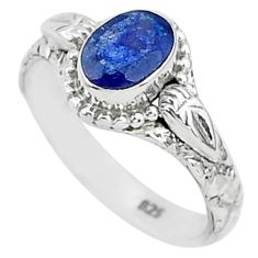 1.44cts solitaire natural blue sapphire 925 sterling silver ring size 6 t5488