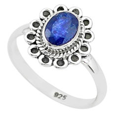 1.58cts solitaire natural blue sapphire 925 sterling silver ring size 6 t5499
