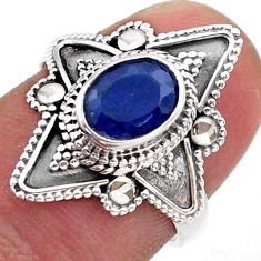 1.96cts solitaire natural blue sapphire 925 sterling silver ring size 7 t46601