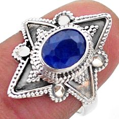2.17cts solitaire natural blue sapphire 925 sterling silver ring size 7 t46602