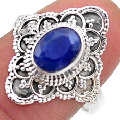 1.99cts solitaire natural blue sapphire 925 sterling silver ring size 7 t46621