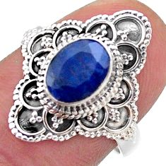 1.99cts solitaire natural blue sapphire 925 sterling silver ring size 7 t46625