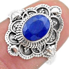 1.92cts solitaire natural blue sapphire 925 sterling silver ring size 7 t46641