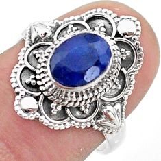 1.94cts solitaire natural blue sapphire 925 sterling silver ring size 7 t46642