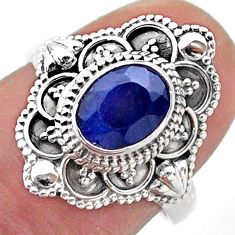 1.91cts solitaire natural blue sapphire 925 sterling silver ring size 7 t46667
