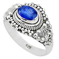 1.66cts solitaire natural blue sapphire 925 sterling silver ring size 7 t5456