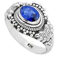 1.56cts solitaire natural blue sapphire 925 sterling silver ring size 7 t5466