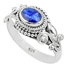 1.63cts solitaire natural blue sapphire 925 sterling silver ring size 7 t5478