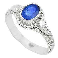1.53cts solitaire natural blue sapphire 925 sterling silver ring size 7 t5489