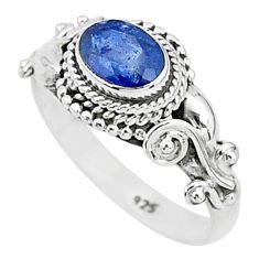 1.44cts solitaire natural blue sapphire 925 sterling silver ring size 7 t5491
