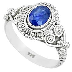 1.56cts solitaire natural blue sapphire 925 sterling silver ring size 7 t5495