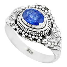 1.57cts solitaire natural blue sapphire 925 sterling silver ring size 7 t5496