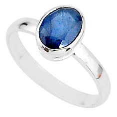 2.03cts solitaire natural blue sapphire 925 sterling silver ring size 7 t7311