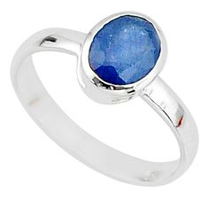 2.14cts solitaire natural blue sapphire 925 sterling silver ring size 7 t7316
