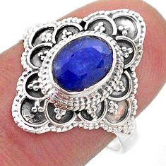 2.09cts solitaire natural blue sapphire 925 sterling silver ring size 8 t46582