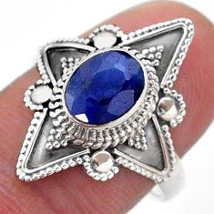 2.17cts solitaire natural blue sapphire 925 sterling silver ring size 8 t46605