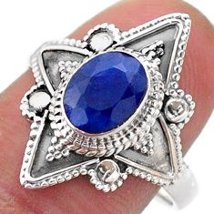 2.03cts solitaire natural blue sapphire 925 sterling silver ring size 8 t46627