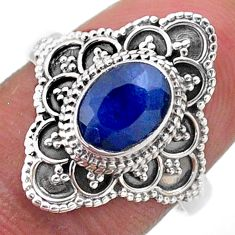 2.03cts solitaire natural blue sapphire 925 sterling silver ring size 8 t46628