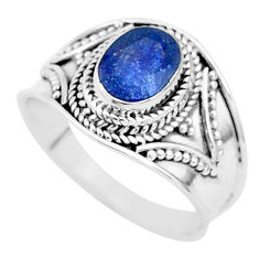 2.21cts solitaire natural blue sapphire 925 sterling silver ring size 8 t5153
