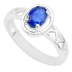 1.54cts solitaire natural blue sapphire 925 sterling silver ring size 8 t5214