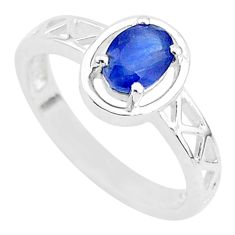 1.50cts solitaire natural blue sapphire 925 sterling silver ring size 8 t5217