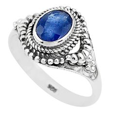 1.97cts solitaire natural blue sapphire 925 sterling silver ring size 8 t5299