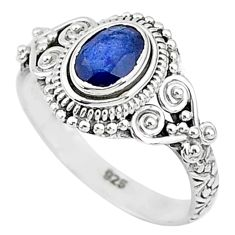 1.35cts solitaire natural blue sapphire 925 sterling silver ring size 8 t5479