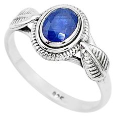 1.36cts solitaire natural blue sapphire 925 sterling silver ring size 8 t5481