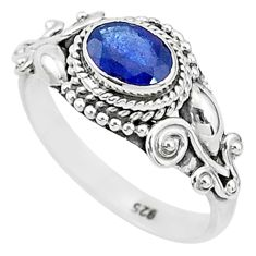 1.54cts solitaire natural blue sapphire 925 sterling silver ring size 8 t5492