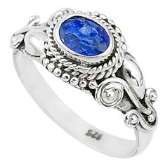 1.66cts solitaire natural blue sapphire 925 sterling silver ring size 8 t5493