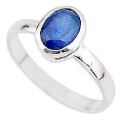 2.13cts solitaire natural blue sapphire 925 sterling silver ring size 8 t7317