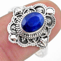 1.99cts solitaire natural blue sapphire 925 sterling silver ring size 9 t46661