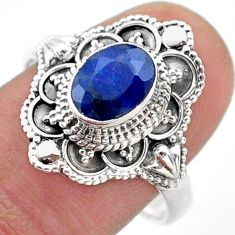 2.02cts solitaire natural blue sapphire 925 sterling silver ring size 9 t46664
