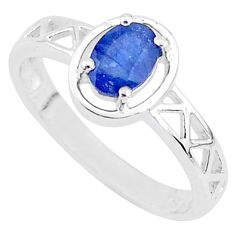 1.57cts solitaire natural blue sapphire 925 sterling silver ring size 9 t5209