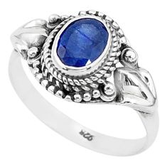 2.01cts solitaire natural blue sapphire 925 sterling silver ring size 9 t5333