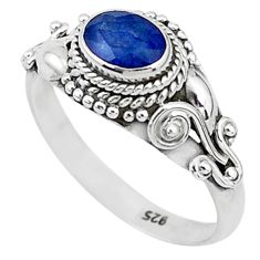 1.35cts solitaire natural blue sapphire 925 sterling silver ring size 9 t5458