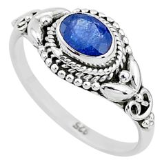 1.47cts solitaire natural blue sapphire 925 sterling silver ring size 9 t5474