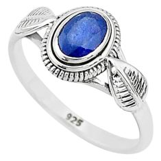 1.62cts solitaire natural blue sapphire 925 sterling silver ring size 9 t5483